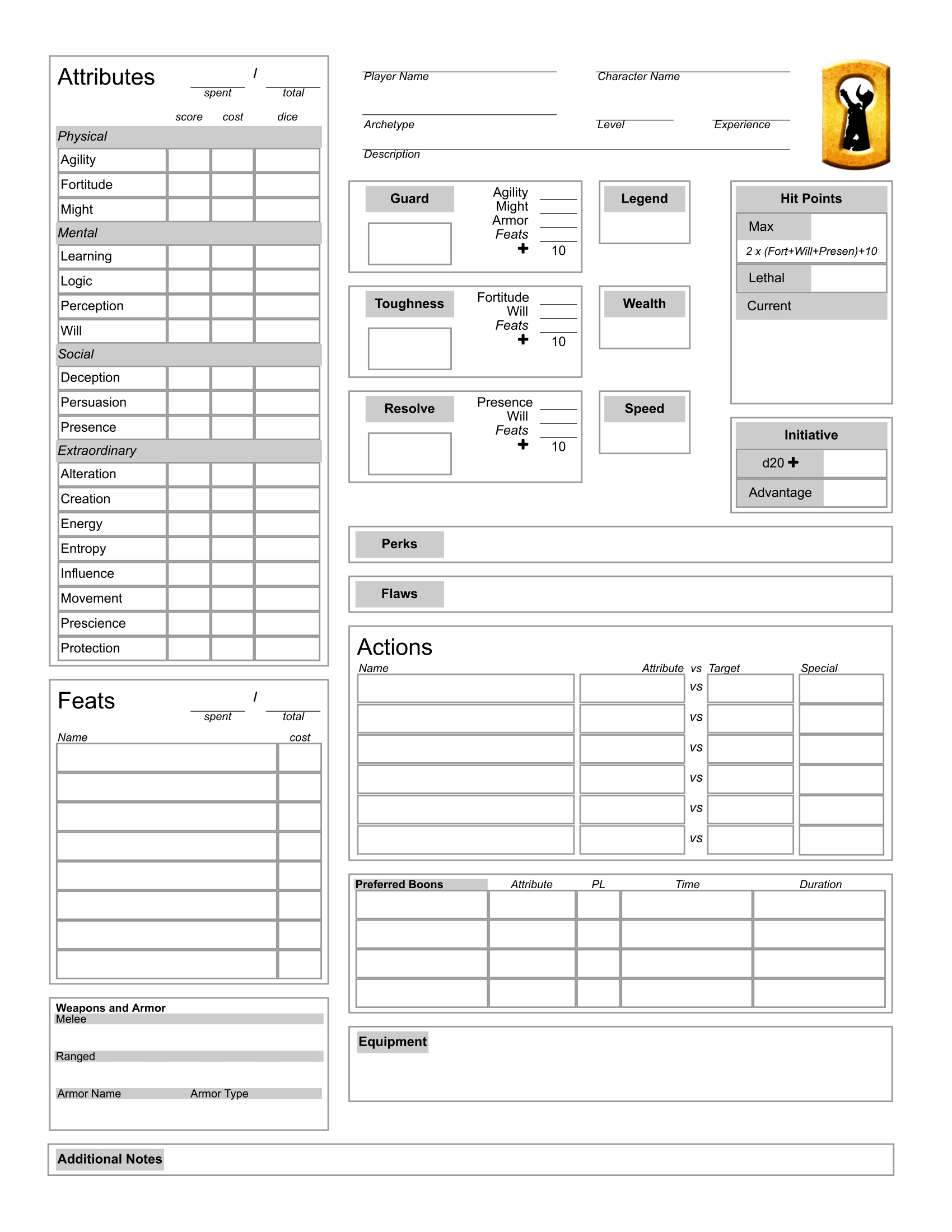 image about 5e Character Sheet Printable titled Personality Builder: Open up Legend RPG HeroMuster